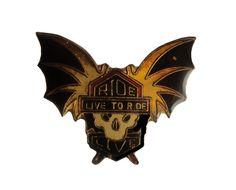 vintage Ride To Live To Ride motorcycle metal enamel pin skull with wings biker