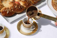 Greek Coffee (Ellinikos Kafes) - A Greek Easter Celebration I Love Coffee, Coffee Break, Brown Coffee, Real Coffee, Morning Coffee, Croissants, Greek Easter Bread, Brunch, Coffee Cafe