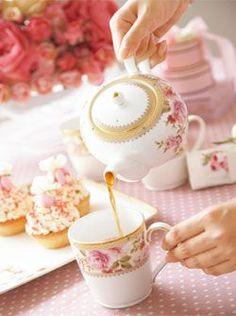 Pouring The Tea ~ Beautiful Rose Pattern Tea Set