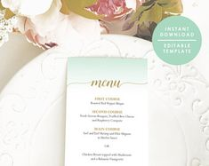 Mint Green Menu, Printable Menu, Mint and gold Menu, Menu Template, Printable Menu, Instant Download, Editable PDF, #GD_WM113