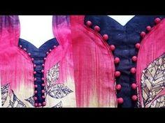 Kurti Neck Design using buttons Chudithar Neck Designs, Neck Designs For Suits, Blouse Back Neck Designs, Neckline Designs, Sleeves Designs For Dresses, Blouse Designs, Salwar Neck Patterns, Neck Patterns For Kurtis, Salwar Neck Designs
