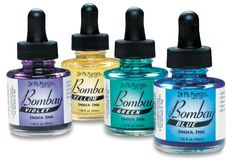 Bombay India Inks; waterproof and great lightfastness. Best used with brush and nib pen, will clog fountain pens and technical drawing pens. On the expensive side.