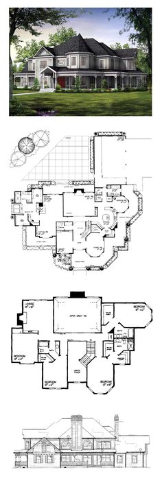 COOL House Plan ID: chp-19860   Total Living Area: 4826 sq. ft., 5 bedrooms and 4.5 bathrooms. Den/Study, Fireplace, Formal Dining Room, Library, Morning Room, Kitchen with Island, Great Room, Master Suite with Sitting Room and Dressing Room, Wraparound Porch, Rear and Side Porch, Split Bedrooms, Patio/Terrace/Veranda, Beautiful Design #luxuryhome