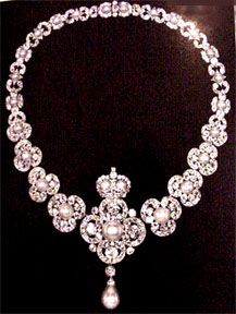 Victorian Jewelry - 1835 to 1890. Pearl and diamond necklace made to commemorate Victoria's 50 Years on the throne