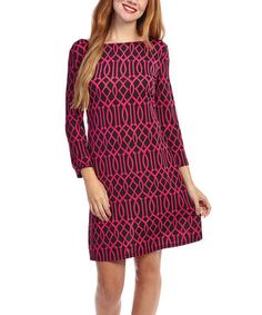 Look at this #zulilyfind! Black & Pink Lattice Three-Quarter Sleeve Dress by Modern Touch #zulilyfinds