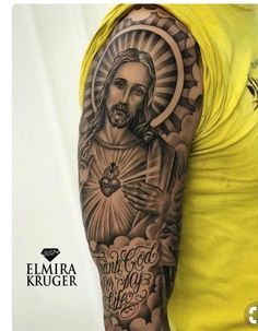 Image may contain: 1 person Heaven Tattoos, God Tattoos, Body Art Tattoos, Tattoos For Guys, Half Sleeve Tattoos Forearm, Full Sleeve Tattoos, Tattoo Sleeve Designs, Jesus Tattoo Sleeve, Christus Tattoo