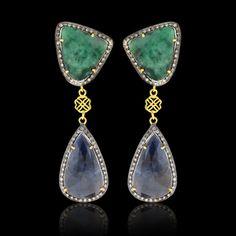 Emerald, Sapphire & Diamond Slice Earrings - JYOTI #color #happy #collection #emerald #diamond #multi #sapphire #slice #earring #designer #JYOTI #couture #jewelry