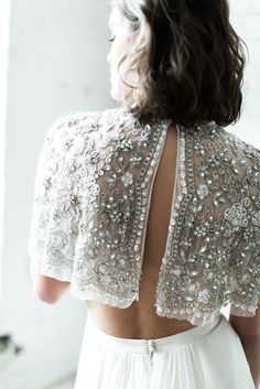 Beautiful and unexpected bridal separates pairing. The beading of this bridal top is stunning.