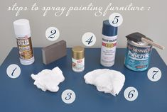 Tips and products for spray painting furniture.  Also like the night stand using Rustoleum's Gloss Black spray paint.
