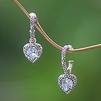 Blue topaz half hoop heart earrings, 'Love Sparkles' - Blue Topaz Hearts in Sterling Silver Half Hoop Earrings
