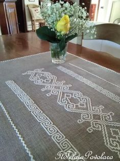Bargello, Pure Products, Embroidery, Contemporary, Handmade, Home Decor, Placemat, Dots, Living Room