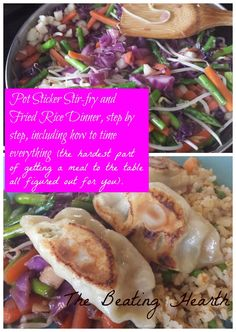 Pot Sticker Stir-Fry and Fried Rice Dinner, how to time it perfectly! Can't wait!! Stir Fry From Scratch, Cooking Tips, Cooking Recipes, Great Recipes, Favorite Recipes, Oriental Food, Dim Sum, Dumplings, Farmers Market