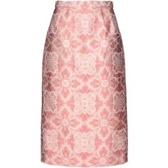 Aganovich 3/4 Length Skirt (€285) found on Polyvore featuring skirts, pastel pink, jacquard skirt, floral print skirt, pastel skirt, flower print skirt and tube skirt
