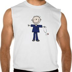 Male Stick Figure Nurse - Blue Sleeveless T Shirt, Hoodie Sweatshirt