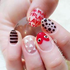 comme des garcons #watercolornail #watercolor #nail #fashion #nailart #cute #naildesign #art #셀프네일 #commedesgarcons #beauty #nails #watercolornails #ネイルサロン #polish #nailsalon #design #네일 #nailpolish #selfnail #nailswag #ネイル #wedding #ネイルアート #네일아트 #gelnail #수채화네일 #watercolornailart #젤네일 #pikapika_nails