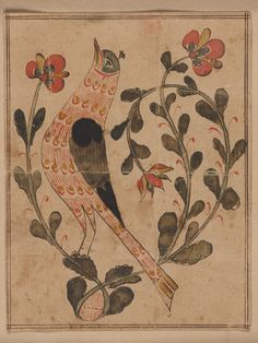 on Paper - Fraktur - Search the Collection - Winterthur Museum Folk Art Flowers, Flower Art, Art And Illustration, Cat Illustrations, German Folk, Art Populaire, Les Religions, Primitive Folk Art, Naive Art
