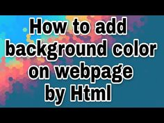 How to add background color of a webpage in Html #Html #Read4bca - YouTube