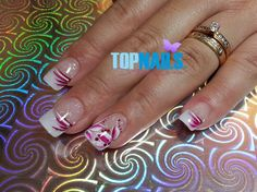 Acrylic Nails French with Floral designs by TopnailsChile