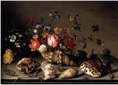 Still-life of flowers, shells,  insects - Balthasar van der Ast #art #painting #Dutch_Baroque