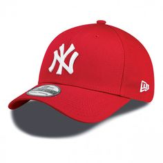 New Era League Basic 39Thirty New York Yankees Cap Scarlet White ❤ liked on  Polyvore featuring accessories e15b27bea9c