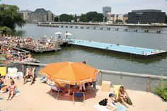 BERLIN, Germany — Badeschiff is a recycled cargo container floating on the river. Much more of a socializing thing than a pampering thing.