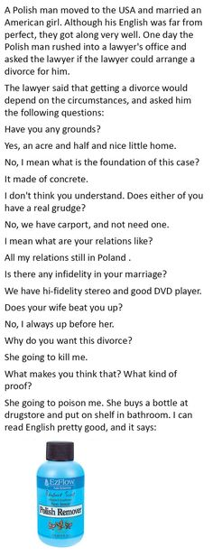 Man Wants To Divorce His Wife The Conversation With His Lawyer Is Hilarious funny jokes story lol funny quote funny quotes funny sayings joke hilarious humor stories marriage humor funny jokes - Michelle Papadopoulos - Funny Shit, Funny Love, Funny Posts, The Funny, Funny Humor, Funny Stuff, Funny Sarcasm, Ecards Humor, Funny Marriage Jokes