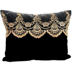 Vintage black velvet pillow with sepia lace trim ($60) ❤ liked on Polyvore