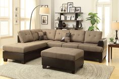 Tan Linen Fabric Reversible Sectional Sofa With Ottoman F7603 An impeccable design of textures and tones, this three-piece sectional includes a sofa, reversible chaise, and cocktail ottoman draped in blended linen framed in faux leather making it the perfect solution to the modern home décor. Sectional Sofa Sale for $429