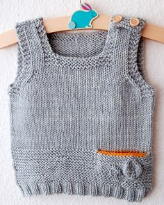 Petites Feuilles Vest pattern by Lisa Chemery – Knitting patterns, knitting designs, knitting for beginners. Knitting For Kids, Knitting For Beginners, Baby Knitting Patterns, Baby Boy Sweater, Baby Cardigan, Ravelry, Baby Hut, Pull Bebe, Knit Vest Pattern
