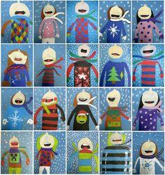 Some results from art lessons - Schule Am Lindenberg - Art Education ideas Kindergarten Art Lessons, Art Education Lessons, Art Lessons Elementary, Group Art Projects, Winter Art Projects, Classe D'art, 3rd Grade Art, Art Classroom, Winter Theme