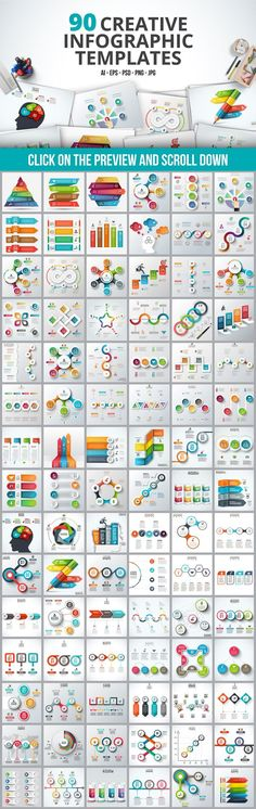 Infographic templates bundle with flow charts, org charts, slides - flow sheet templates