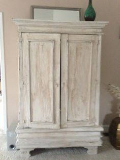 Custom Painted Antiqued Armoire