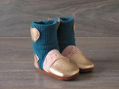 "Nooks Design booties, toddler footwear, toddler size US 4 / 6 - 12m / 4.5"" length slip-on style"
