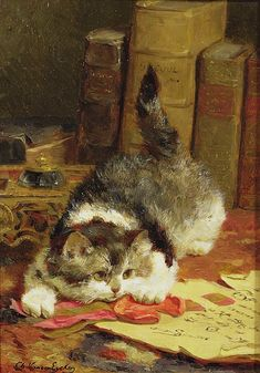 GG61738 Stalking Cat by Eycken, Charles van den (1859-1923); Private Collection; � Gavin Graham Gallery, London, UK; Belgian, out of copyright