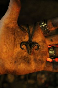 A hand forged Azazel/ Scapegoat pendant . Comes supplied with a high quality elk leather thread. Blacksmith Projects, Welding Projects, Welding Art, Horseshoe Crafts, Horseshoe Art, Leather Thread, Scapegoat, Forging Metal, Iron Work