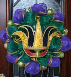 Carnival Themed Purple Green and Gold Deco by FreckleFaceCrafts, $45.00