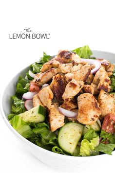This satisfying chicken salad is made with tender breast meat marinated in a lemon, garlic vinaigrette then served over a fragrant Lebanese salad. Chicken Tawook, Chicken Mushroom Casserole, Lebanese Salad, High Protein Salads, Salad Places, Chicken Salad With Apples, Lemon Bowl, Salad Recipes, Healthy Recipes