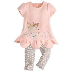 [I love nature]Your little one will be fawned over in our sweet dress set featuring Bambi among the flowers, scalloped hem and coordinating leggings. Perfect for playing with forest friends and family! Disney Baby Clothes, Baby Kids Clothes, Outfits Niños, Kids Outfits, Baby Girl Fashion, Kids Fashion, Baby Layette, Baby Dress, Dress Set