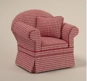 Ashley Red Check Chair | Mary's Dollhouse Miniatures