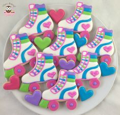 Roller skate cookies, roller disco cookies Ice Skating Party, Roller Skating Party, Disco Party Decorations, Party Themes, Party Ideas, 8th Birthday, Birthday Parties, Birthday Cookies, Roller Skate Cake