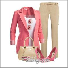 CHATA'S DAILY TIP:  A stone chino looks super stylish when paired with warm colours such as yellow, orange, red, purple or this stunning strawberry pink jacket, with complementary accessories. Avoid the warmer shades if you blush easily or get hot quickly. COPY CREDIT: Willene Sieberhagen http://chataromano.com/consultant/willene-sieberhagen/ IMAGE CREDIT: Beauty and Fashion's Facebook page