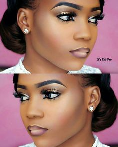 Soft and sultry makeup looks featuring Nigerian makeup artist DG_PRO whose makeup mlooks are nothing short of extremely beautiful. Sultry Makeup, Nude Makeup, Flawless Makeup, Eyebrow Makeup, Lip Makeup, Makeup For Black Skin, Black Girl Makeup, Girls Makeup, Black Bridal Makeup