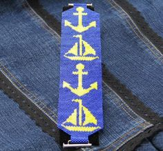 Nautical Peyote Stitch Bracelet Look at the reduction at end for clasp attachment.