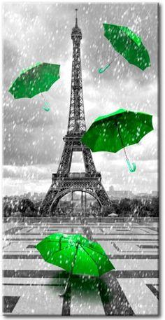 Impresión en el vidrio acrílico Paris: Green Umbrellas [Glass]