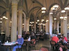 Café Central, Herrengasse 14, one of the most storied classic cafés. Opened in 1876, this café served as the home of Vienna's intellectual scene during the fin de siècle.