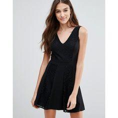 Wal G Skater Dress ($31) ❤ liked on Polyvore featuring dresses, black, skater skirt, circle skirt, v-neck dresses, flared skirt and skater dresses