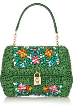 Dolce & Gabbana|Dolce medium embellished raffia and leather shoulder bag|NET-A-PORTER.COM