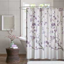 Buchanan Cotton Shower Curtain   Purple GreyTealShower  Tahari Printemps Purple Plum Gray Teal on White Cotton Blend  . Grey And Purple Shower Curtain. Home Design Ideas