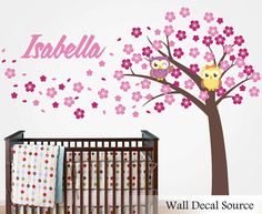 Nursery Tree Decal With Owls Name Decal by WallDecalSource on Etsy, $110.00