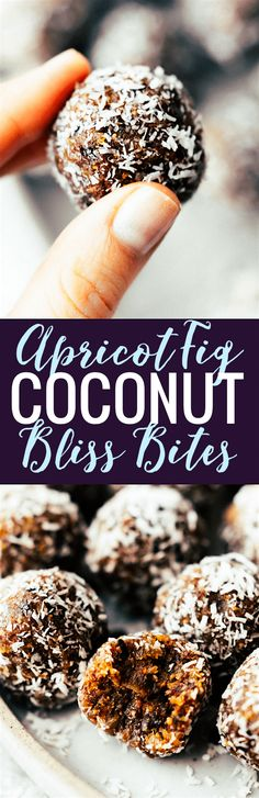 hese NO BAKE COCONUT APRICOT FIG BLISS BITES are the perfect superfood energy bites! No sugar added, just figs, coconut, apricots, nuts, pure dark chocolate, and a touch of sea salt. A quick wholesome snack to fuel your day!! Paleo, Vegan, and Whole 30 friendly. www.cottercrunch.com